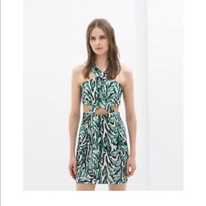 Zara Green Cut out printed halter dress